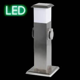 Steckdosensäule S102 mit LED 3W Lichtfeld Edelstahl 2 x Steckdose - Bild vergrößern