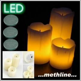 LED Kerze 3er Set Flackerkerze Wachskerze - Bild vergrößern