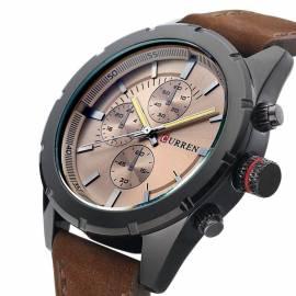 Herrenuhr Armbanduhr Leder braun wasserdicht Curren - Bild vergrößern