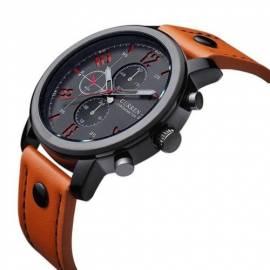Herrenuhr Armbanduhr Leder orange wasserdicht Curren - Bild vergrößern
