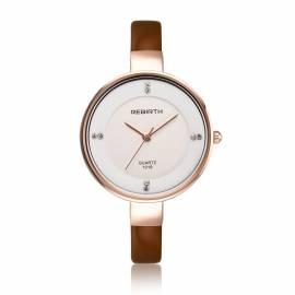 Damenuhr Armbanduhr gold rose Leder braun wasserdicht - Bild vergrößern