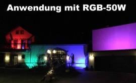 Flutlichtstrahler RGB LED 50W farbig Fluter IP65 mit memory Chip - Bild vergrößern