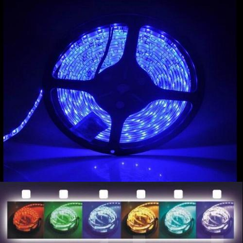 v smd led 5050 lichtband 5m streifen band netzteil strips farbig blau rot gr n ebay. Black Bedroom Furniture Sets. Home Design Ideas