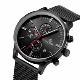 Herrenuhr Armbanduhr Metall schwarz wasserdicht Megir - Bild vergrößern