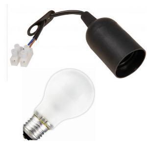 6 St. E27 Lampenfassung Baufassung mit Kabel + Glühlampe 100W