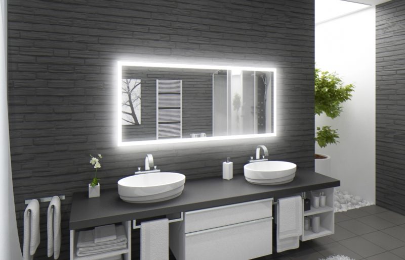 LED Spiegel M303-L4 Wandspiegel Badspiegel 120 x 60 warmweiß beleuchtet